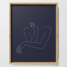 Woman's crossed arms line drawing - Anna Blue Serving Tray