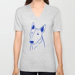 Bull Terrier (Light Blue and Blue) Unisex V-Neck