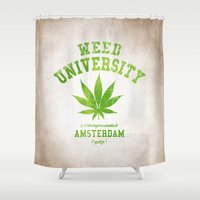 weed Shower Curtains featuring Weed University by Nxolab