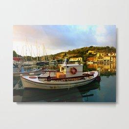 Greece Fishing Boat Sunrise High Color Metal Print
