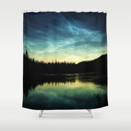 Noctilucent Clouds Over Forest Lake Shower Curtain