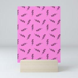 Pink Glitter Lightning Bolts in Pink Mini Art Print