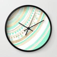 Mint + Gold Tribal Wall Clock