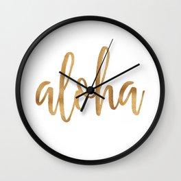 Aloha - gold and white Wall Clock