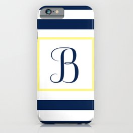 Monogram Letter B in Navy Blue it Yellow Outlined Box iPhone Case