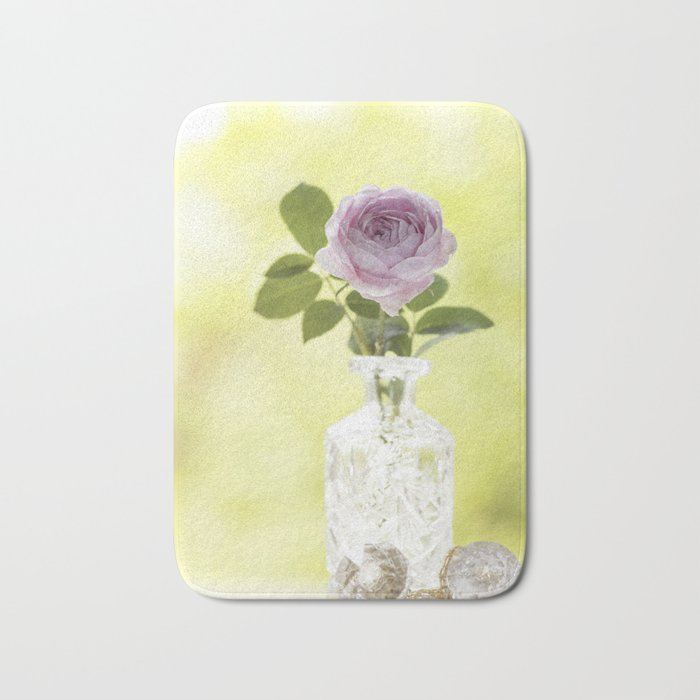 Pink Rose in crystal vase- Stilllife Roses Flowers photography Bath Mat