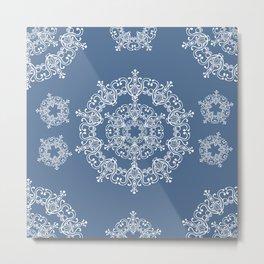 Blue winter. White snowflakes. Metal Print