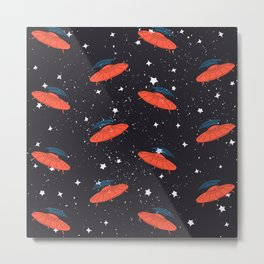Hand drawn pattern UFO. Among the stars Metal Print