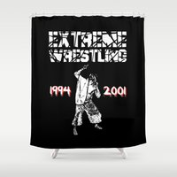 wrestling Shower Curtains featuring Extreme Wrestling by Darth Paul