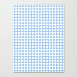 Small Diamonds - White and Baby Blue Canvas Print