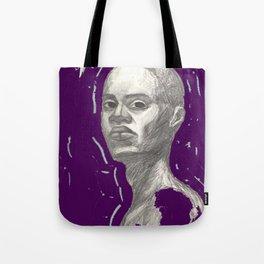 Woman of Colour Digitalized Purple Pencil Portrait Tote Bag