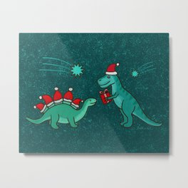 Cute Christmas Dinosaurs with Gift, Santa's Hats and Falling Stars, Teal Green Colors Metal Print