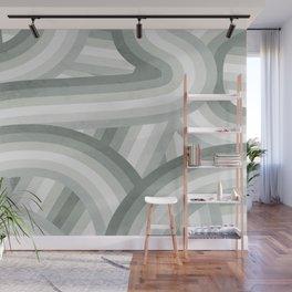 Elegant Gray Green Stripes Wall Mural