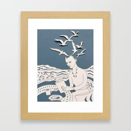 Fan art: woman reading by sea of sharks Framed Art Print
