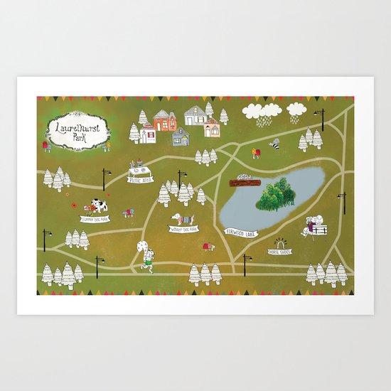 Map of Laurelhurst Park Art Print