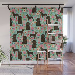 Boykin Spaniel custom dog breed floral pattern print by pet friendly dog art pet portraits Wall Mural
