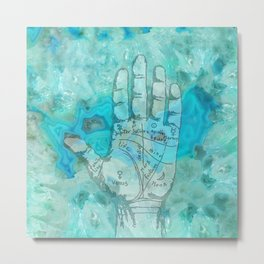 Agate Palm Reading Metal Print