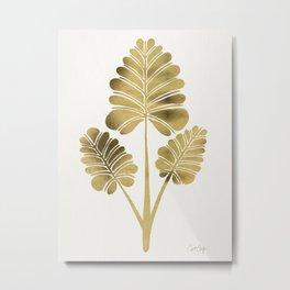 Tropical Palm Leaf Trifecta – Gold Palette Metal Print