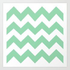 Mint stripes Art Print