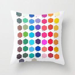 Hexagon Color Chart Throw Pillow