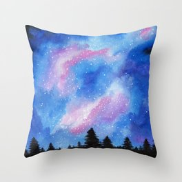Night Sky, Acrylic Galaxy Art Throw Pillow