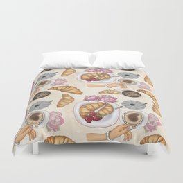 Good Morning Strawberries, Croissants And Coffee Pattern Duvet Cover