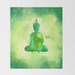 Green Watercolor Buddha Painting Throw Blanket