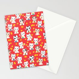 Taco Cat Burrito Kitten Pattern Red Stationery Cards