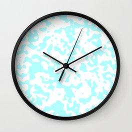 Spots - White and Celeste Cyan Wall Clock