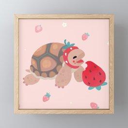 Tortoises love strawberries Framed Mini Art Print