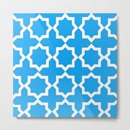 Blue and White Lattice Design Metal Print