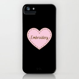 I Love Embroidery Simple Heart Design iPhone Case