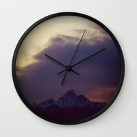 twilight Wall Clocks featuring Twilight by Augustina Trejo