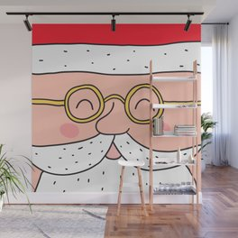 Happy Santa Claus face. Merry Christmas and Happy New Year! Wall Mural