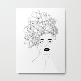 Woman with Flowers Head Lines Drawing Metal Print