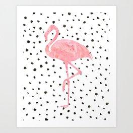 Flamingo Art print, Pink, Glam, Dalmatian, Tropical, Nursery, Living Room Art Print