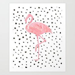 Flamingo Art print, Pink, Glam, Dalmatian, Tropical Art Kunstdrucke