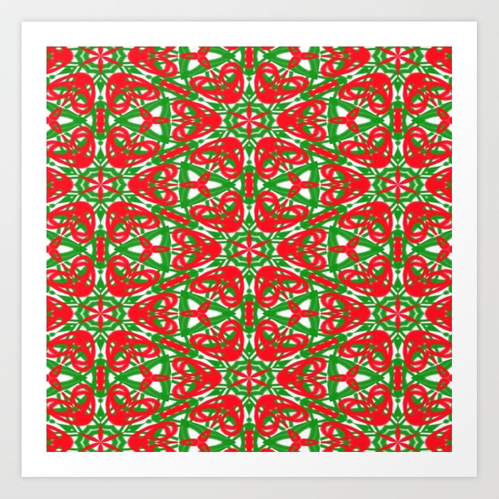 Red, Green and White Kaleidoscope 3375 Art Print