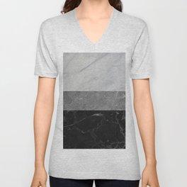 Marble - White, Grey, Black Unisex V-Neck