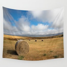 A Day on the Prairie - Round Hay Bales on Golden Landscape in South Dakota Wall Tapestry
