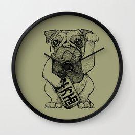 Lucky Pug [grey] Wall Clock