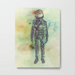 Silver Spaceman Inverted Metal Print