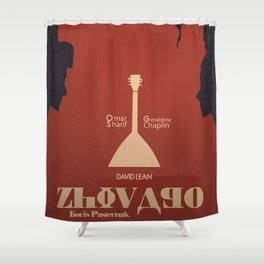 Doctor Zhivago, David Lean, Omar Sharif, Boris Pasternak book, minimalist movie poster, Russia film Shower Curtain