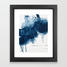 Where does the dance begin? A minimal abstract acrylic painting in blue and white by Alyssa Hamilton Framed Art Print