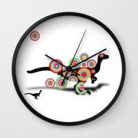 dinosaur Wall Clocks featuring dinosaur by mark ashkenazi