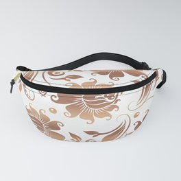 Light Copper & White Floral Damasks Fanny Pack