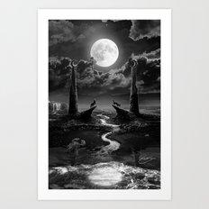 XVIII. The Moon Tarot Card Illustration Art Print