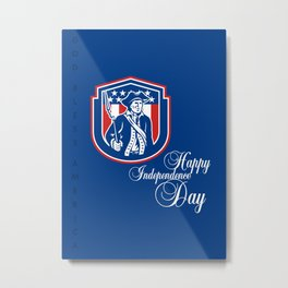 Independence Day Greeting Card-American Patriot Holding Bayonet Rifle Metal Print