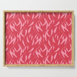 Leaf pattern, pink and red Serving Tray