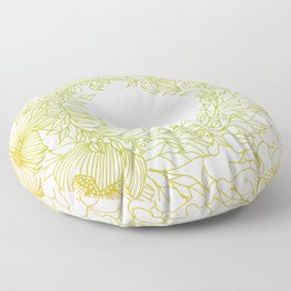 Tangerine and Olive Flowery Linocut Wreath Floor Pillow